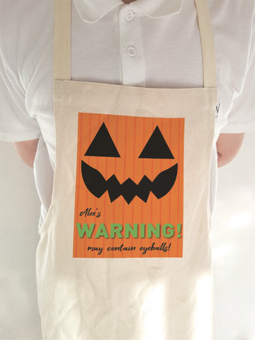 Pumpkin Themed Personalised Halloween Apron for Adults and Children of all ages