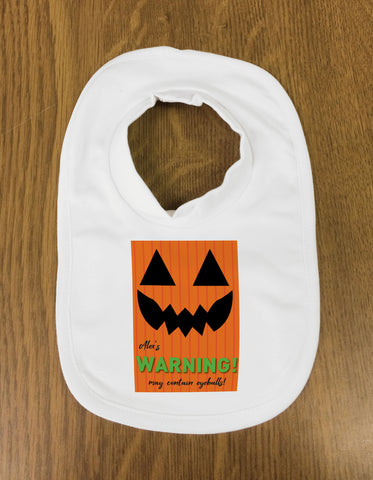 Pumpkin Themed Halloween Warning May Contain Eyeballs Personalised Baby Bib
