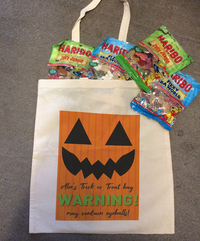 Pumpkin Themed Halloween Personalised Canvas Bag for Trick or Treating