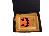 Pumpkin Themed Halloween Warning May Contain Eyeballs Personalised Crystal Block
