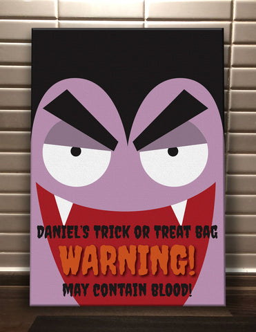 Dracula Themed Halloween Warning May Contain Treats Personalised Canvas Print