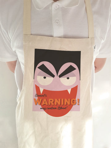 Dracula Themed Halloween Warning May Contain Treats Personalised Apron