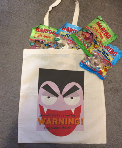 Dracula Themed Halloween Warning May Contain Treats Personalised Canvas Bag for Life