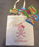 Personalised Skull & Cross Bow Halloween Trick or Treat Canvas Bag for Life for Boys & Girls