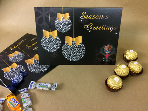 Christmas Cards for Business & Home, Personalised Black and Gold Diamonds Baubles