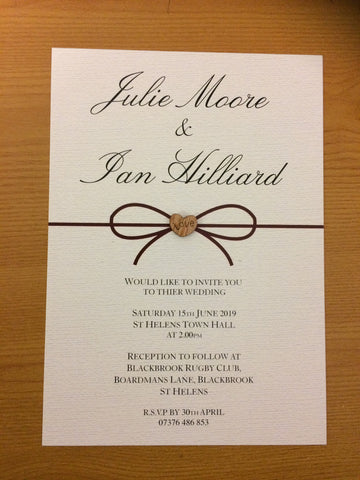 WD12 -Personalised Wedding Bow Themed Invitations