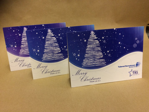 Christmas Cards for Business & Home, Swirl Tree on Curved Background with Logo