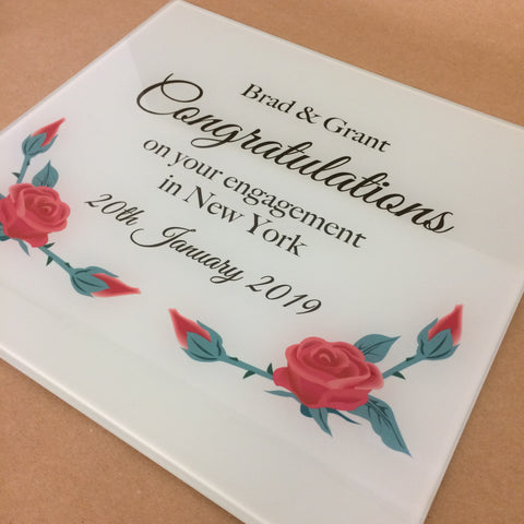 GCB007 - Congratulations Red Flowers Personalised Glass Placemats and Coasters