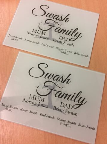 GCB006 - Personalised Family Tree Glass Placemats and Coasters