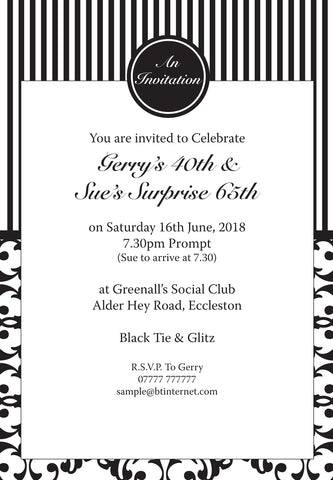 INV001 - Perfume Style Invite - Birthdays - Weddings - Black Tie Events