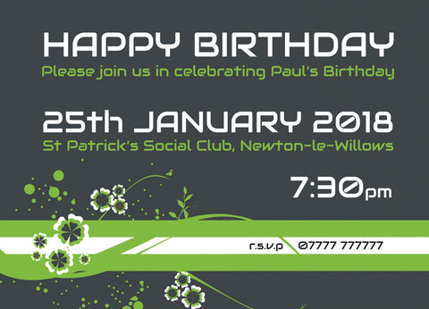 INV022 - Green Flash Flower Futuristic Invite - Birthdays - Parties - Surprise - Milestone