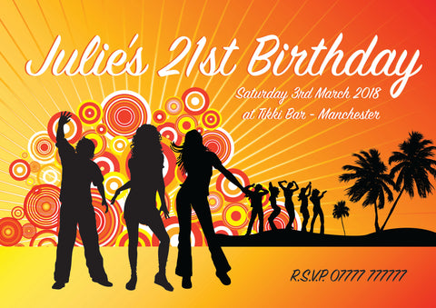 INV043 - Birthday Party Invite - Tropical, Club, Holiday, Beach, Hawaii Themed