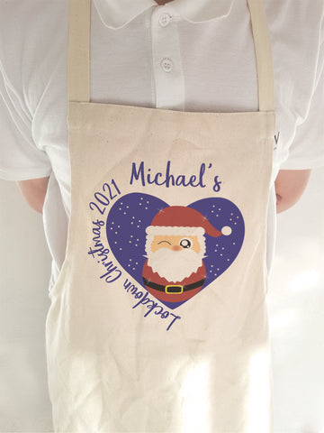 Lockdown 2021 Christmas Apron Personalised for Adults and Children - COVID 19 Cute Santa