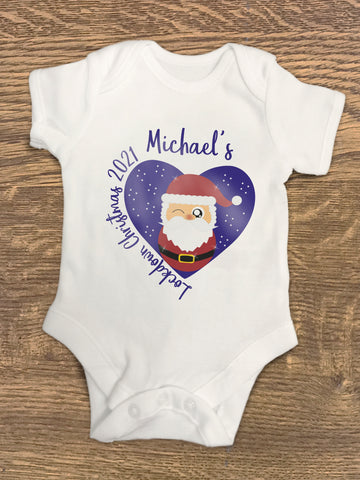 Lockdown Christmas 2021 Baby Vest / Grow Personalised for Baby with Cute Santa - Covid 19 Design