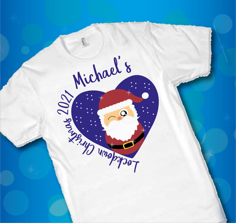 Lockdown Christmas 2021 T Shirts Personalised for Adults and Children - Covid 19 Cute Santa