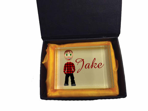 VA15 - Jake Character Valentine's Glass Crystal Block with Presentation Gift Box