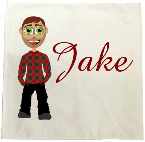VA15 - Jake Character Valentine's Personalised Tea Towel
