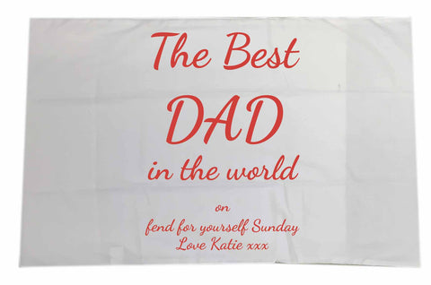 FD16 - The Best Dad in the World on Fend for Yourself Sunday Personalised White Pillow Case Cover