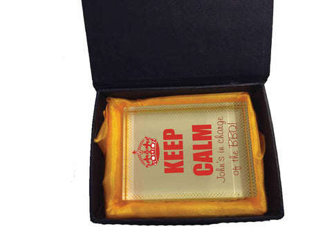 FD15 - Keep Calm I Charge of the BBQ Personalised Crystal Block with Presentation Gift Box