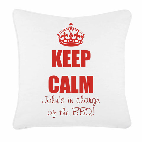 Keep Calm in Charge of the BBQ Personalised Cushion Cover