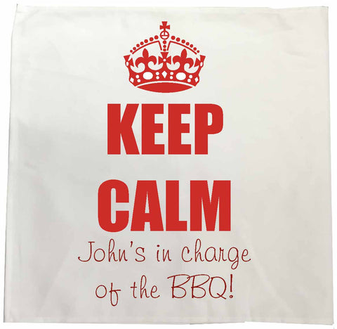 FD15 - Keep Calm in Charge of the BBQ Personalised Tea Towel