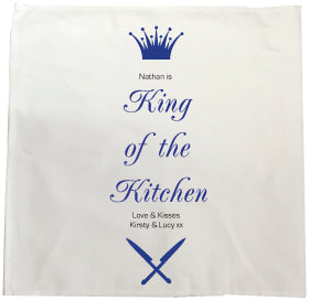 CA18 - Personalised (Name) King of the BBQ Personalised Tea Towel