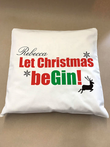 Let Christmas be-Gin Personalised Canvas Cushion Cover