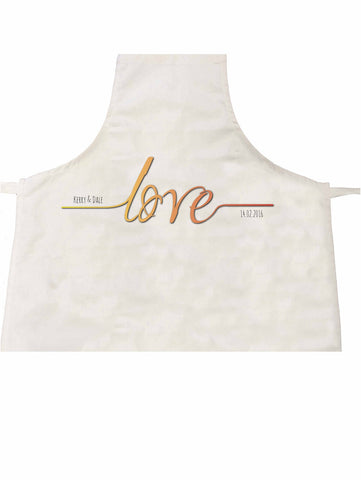 VA17 - Names Love Established.... Valentine's Personalised Apron