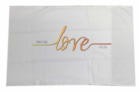 VA17 - Names Love Established..... Valentine's Personalised White Pillow Case Cover