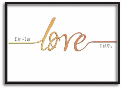 VA17 - Names Love Established....  Valentine's Personalised Print