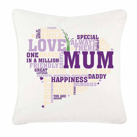 Heart shaped word art Personalised Cushion Cover