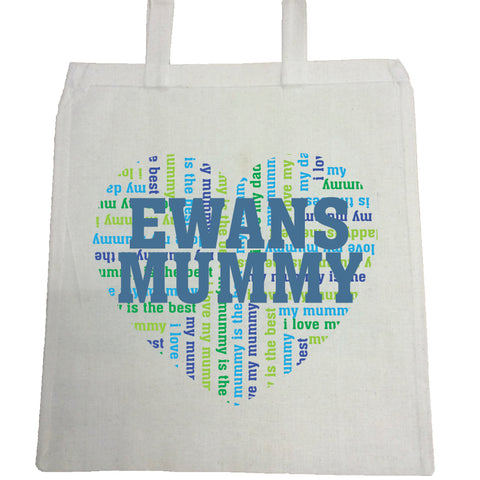 MO16 - Heart Shaped (Child's Name) Mummy Personalised Canvas Bag for Life