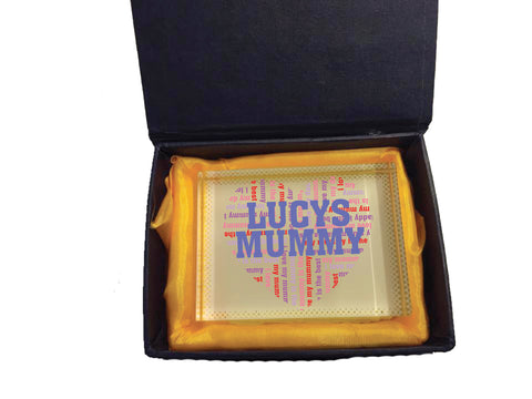 MO16 - Heart Shaped (Child's Name) Mummy Personalised Glass Crystal Block with Presentation Gift Box