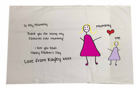 MO01 - Child's Message & Drawing Personalised White Pillow Case Cover