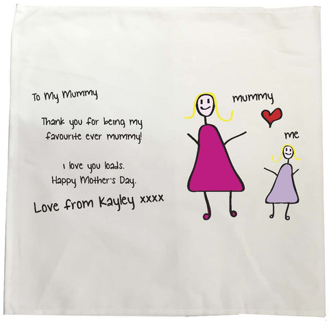 MO01 - Child's Message & Drawing Personalised Tea Towel