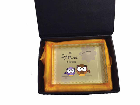 MO05 - Owl Mother's Day Personalised Crystal Block with Presentation Gift  Box