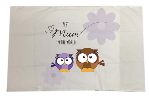 MO05 - Owl Mother's Day Personalised White Pillow Case Cover