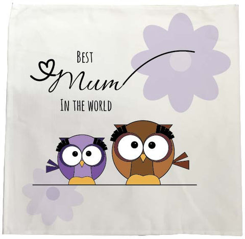 MO05 - Owl Mother's Day Personalised Tea Towel