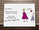 Personalised canvas print made using your child's drawing, totally unique to your family