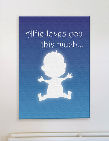 Personalised Silhouette of Child and Child's name loves you this much
