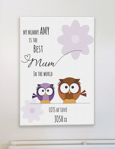Personalised Best Mum in The World Mother & Child Owl and Flower Canvas Print