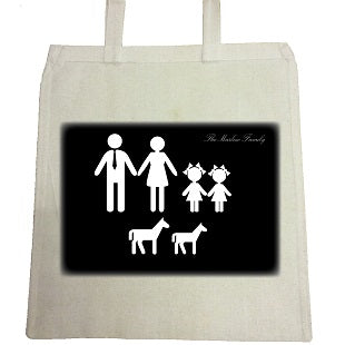 MO10 - Family Name and Figures Personalised Canvas Bag for Life