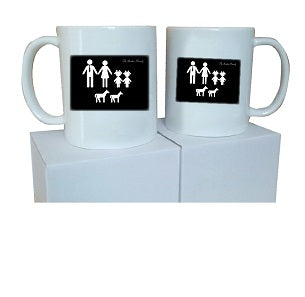 MO10 - Family Name and Figures Personalised Mug & White Gift Box