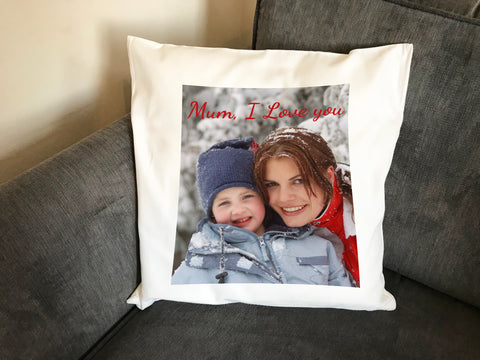 Personalised Your Photo and Your Personal Message Cushion Cover or Full Cushion