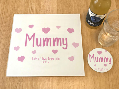 "MO22 - Personalised Mother's Day ""Mummy Hearts"" Glass Placemats and Coasters"