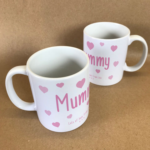 "MO22 - Personalised Mother's Day ""Mummy Hearts"" Mug & White Gift Box"