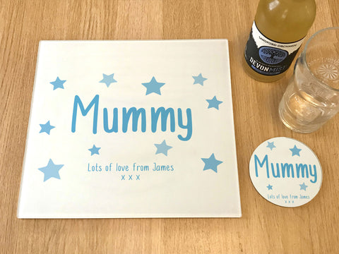 "MO23 - Personalised Mother's Day ""Mummy Stars"" Glass Placemats and Coasters"