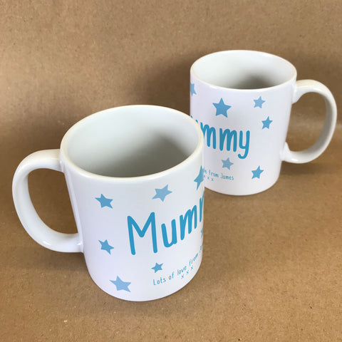 "MO23 - Personalised Mother's Day ""Mummy Stars"" Mug & White Gift Box"