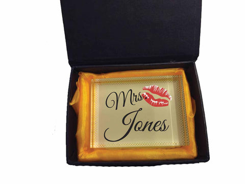 VA09 - Mr & Mrs Surname Valentine's Personalised Crystal Block with Presentation Gift Box