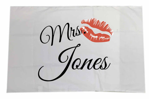 VA09 - Mr & Mrs Surname Valentine's Personalised White Pillow Case Cover. Women's and Men's